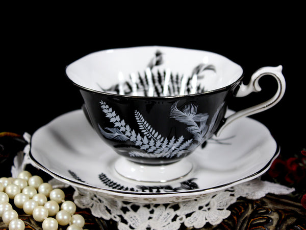 Stunning Royal Albert Black and White Fern Teacup, Avon Shaped Cup and Saucer 12815 - The Vintage Teacup - 6