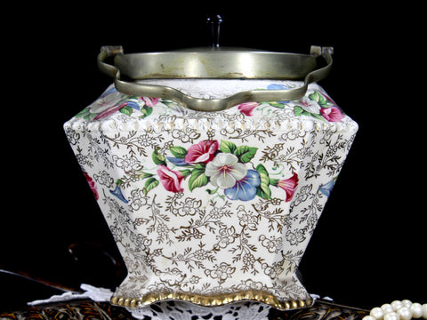 Antique Chintz James Kent Biscuit Jar, Old Foley EPNS Top & Bail Handle 12824 - The Vintage Teacup - 1