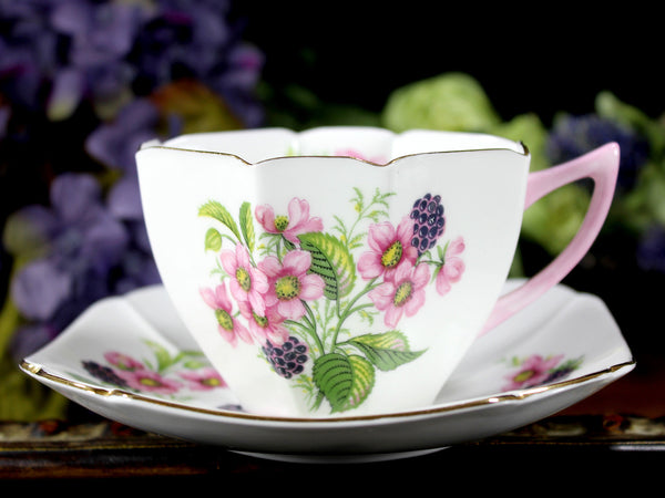 Shelley Floral Teacup And Saucer Art Deco C1945 1966 Tea