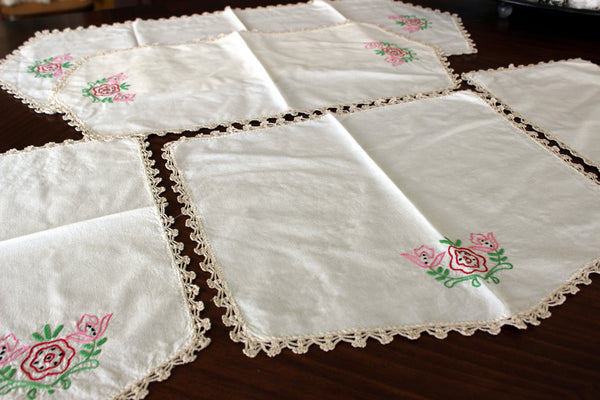Embroidered Table Runners and Doilies, Light Ecru Linen Table Scarf Set, 13013 - The Vintage Teacup - 3