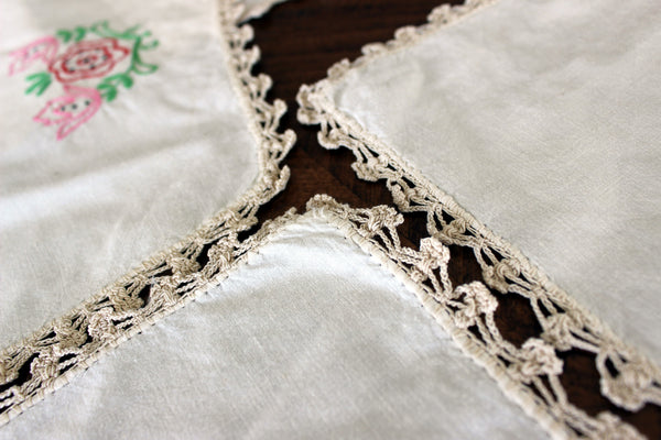 Embroidered Table Runners and Doilies, Light Ecru Linen Table Scarf Set, 13013 - The Vintage Teacup - 4