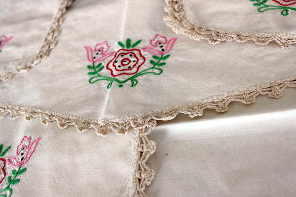 Embroidered Table Runners and Doilies, Light Ecru Linen Table Scarf Set, 13013 - The Vintage Teacup