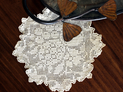 Filet Crochet Doily, Vintage Crochet Doilies, Ornate Knit Doilies, Fruit Motif Crochet 13135 - The Vintage Teacup - 1