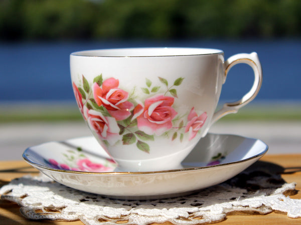 Gainsborough Cup and Saucer, Vintage Teacups, Pink Roses 13174 - The Vintage Teacup