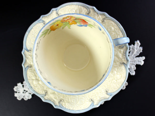 Antique Crown Ducal Ware Teacup, Tea Cup and Saucer, Embossed China 13195