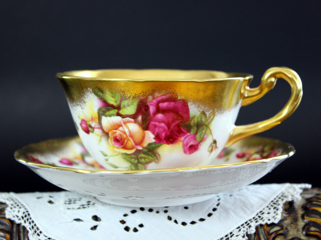 Royal Chelsea, Golden Rose, Bone China Teacup, Vintage Tea Cup and Saucer 15457 - The Vintage Teacup