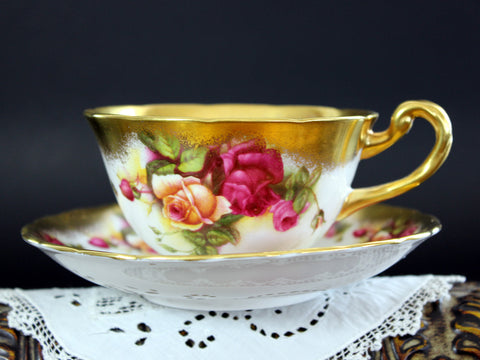 Royal Chelsea, Golden Rose, Bone China Teacup, Vintage Tea Cup and Saucer 15457