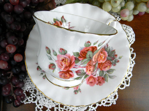 Teacup and Saucer, Centennial Rose England, Royal Albert, Montrose, Footed Tea Cup 15127