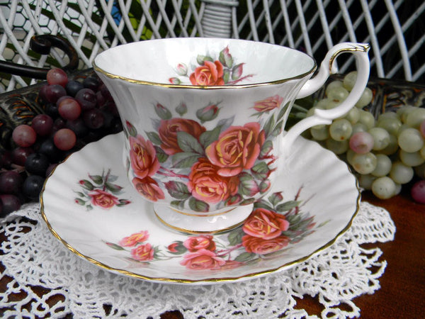 Teacup and Saucer, Centennial Rose England, Royal Albert, Montrose, Footed Tea Cup 15127 - The Vintage Teacup