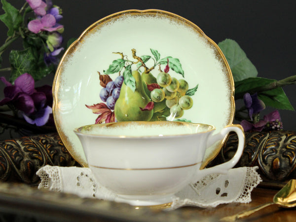 Royal Grafton Tea Cup and Saucer, Wide Mouthed, Green Base and Fruit Motif 13280 - The Vintage Teacup - 2