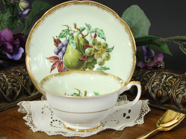 Royal Grafton Tea Cup and Saucer, Wide Mouthed, Green Base and Fruit Motif 13280 - The Vintage Teacup - 4