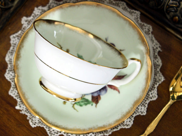 Royal Grafton Tea Cup and Saucer, Wide Mouthed, Green Base and Fruit Motif 13280 - The Vintage Teacup - 5