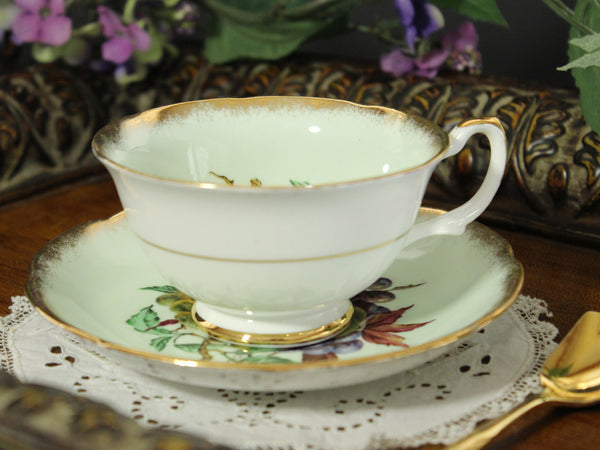 Royal Grafton Tea Cup and Saucer, Wide Mouthed, Green Base and Fruit Motif 13280 - The Vintage Teacup - 7