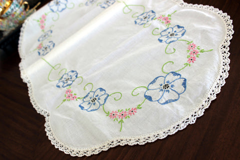 Embroidered Table Runner, Vintage Linen Table Scarf, Crochet Lace Edging 13302 - The Vintage Teacup - 1