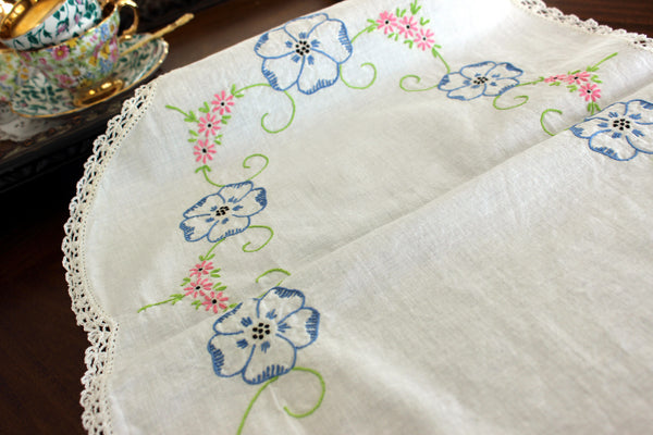 Embroidered Table Runner, Vintage Linen Table Scarf, Crochet Lace Edging 13302 - The Vintage Teacup - 2
