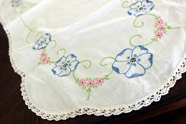 Embroidered Table Runner, Vintage Linen Table Scarf, Crochet Lace Edging 13302 - The Vintage Teacup - 4