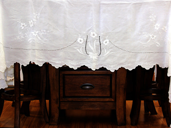 Large Linen Tablecloth, Linen Table Cloth, Vintage Embroidered, White on White 13306 - The Vintage Teacup - 8