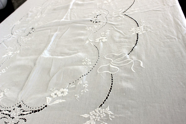 Large Linen Tablecloth, Linen Table Cloth, Vintage Embroidered, White on White 13306 - The Vintage Teacup - 2