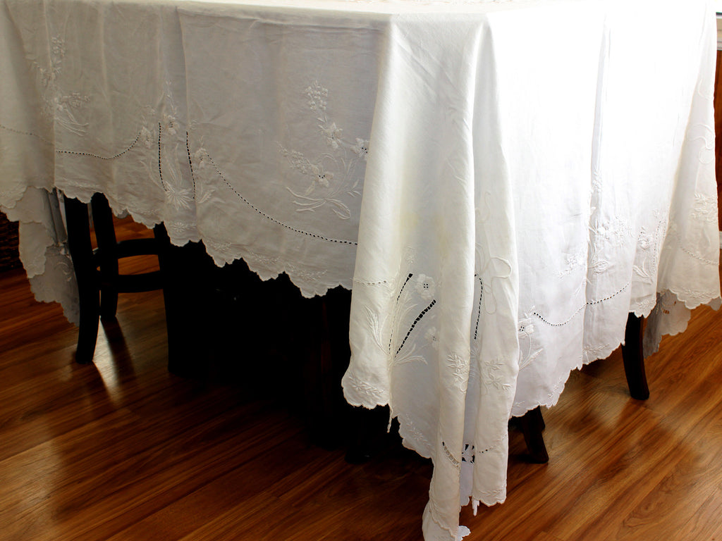 ... Large Linen Tablecloth, Linen Table Cloth, Vintage Embroidered, White  On White 13306 ...