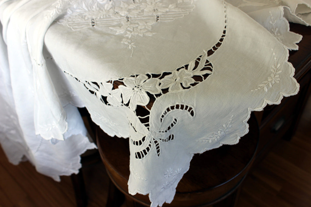 Large Linen Tablecloth, Linen Table Cloth, Vintage Embroidered, White on White 13306 - The Vintage Teacup - 1