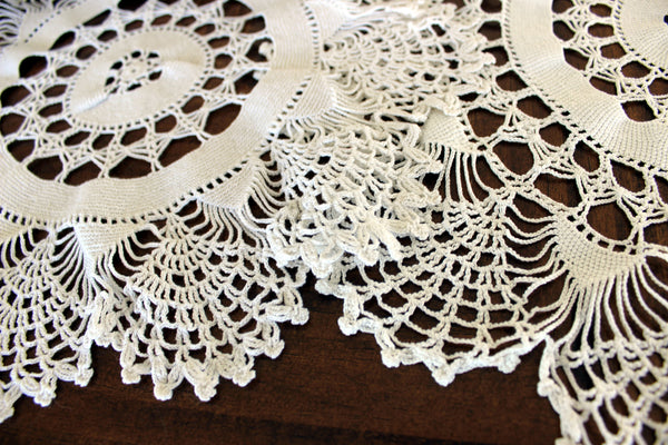 Pair of White Doilies, Vintage Crochet Doilies, Large Crocheted Lace Tray Cloths 13337 - The Vintage Teacup - 5