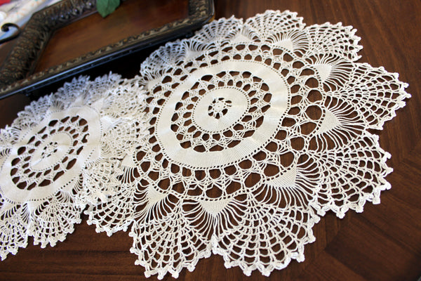 Pair of White Doilies, Vintage Crochet Doilies, Large Crocheted Lace Tray Cloths 13337 - The Vintage Teacup - 6