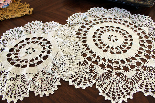 Pair of White Doilies, Vintage Crochet Doilies, Large Crocheted Lace Tray Cloths 13337 - The Vintage Teacup - 2