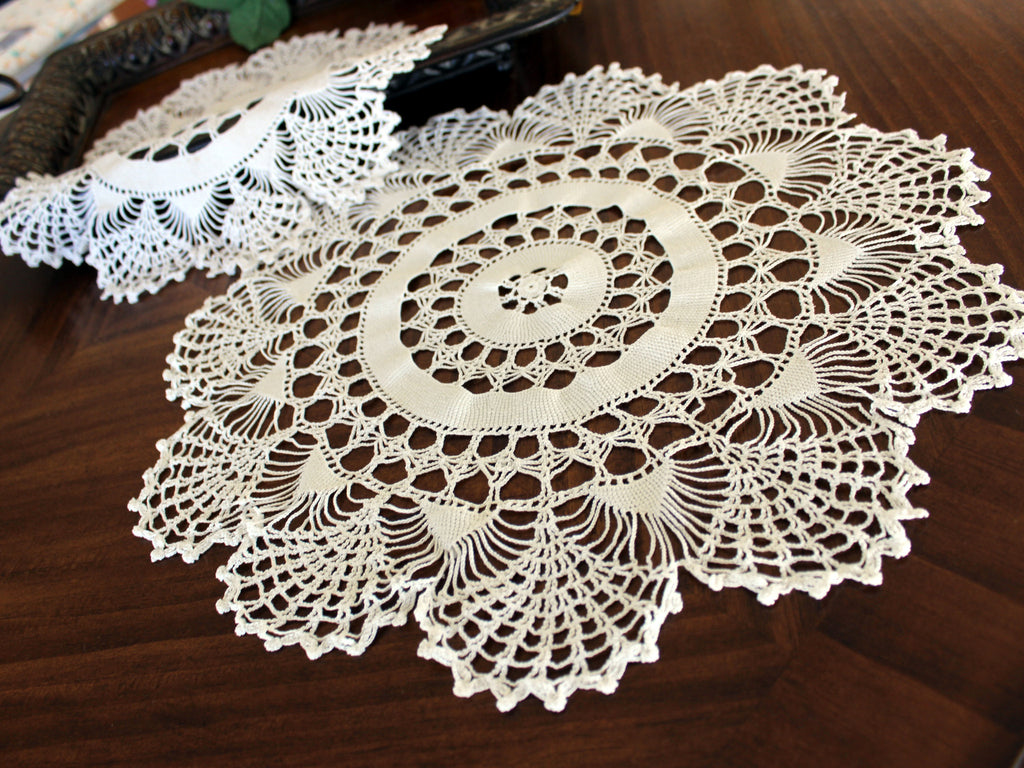 Pair of White Doilies, Vintage Crochet Doilies, Large Crocheted Lace Tray Cloths 13337 - The Vintage Teacup - 1