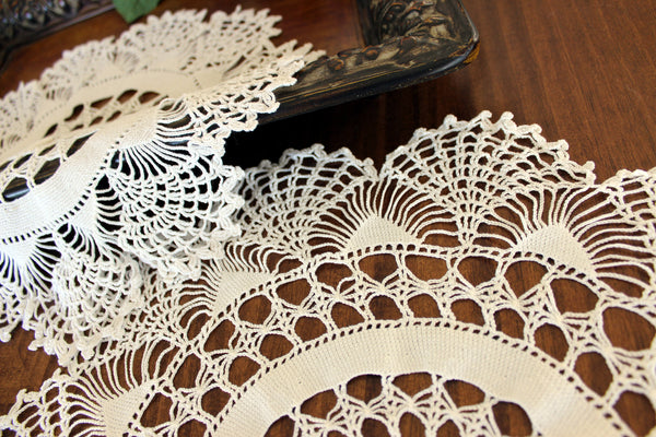 Pair of White Doilies, Vintage Crochet Doilies, Large Crocheted Lace Tray Cloths 13337 - The Vintage Teacup