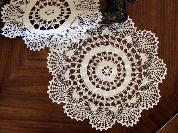 Pair of White Doilies, Vintage Crochet Doilies, Large Crocheted Lace Tray Cloths 13337 - The Vintage Teacup - 4