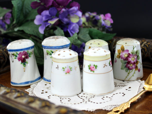 Salt and Pepper Shakers, 3 Sets, Hand Painted China, Vintage Salt and Pepper, Made in Japan, 1950s 13363
