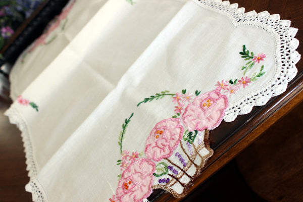 Embroidered Table Runner, Applique Linen Table Scarf, Crochet Lace Edging 13443 - The Vintage Teacup - 3