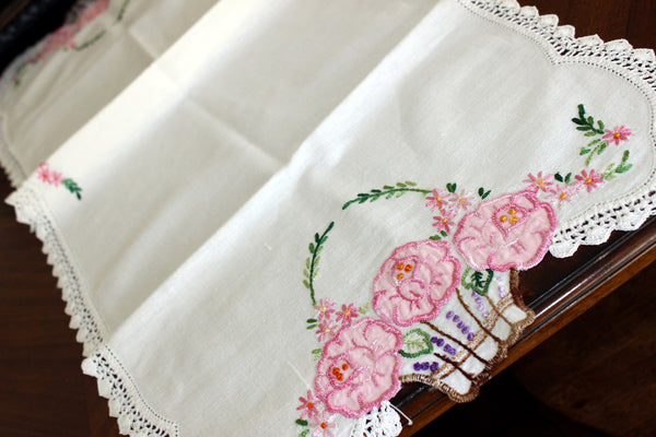 Embroidered Table Runner, Applique Linen Table Scarf, Crochet Lace Edging 13443 - The Vintage Teacup - 5