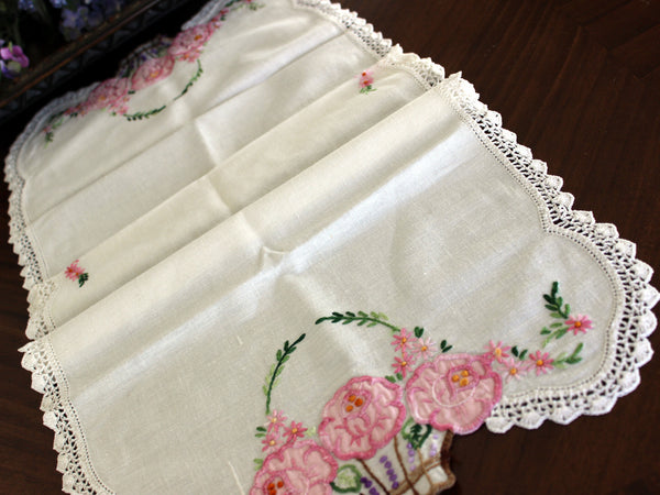Embroidered Table Runner, Applique Linen Table Scarf, Crochet Lace Edging 13443 - The Vintage Teacup - 7