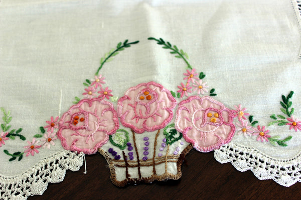 Embroidered Table Runner, Applique Linen Table Scarf, Crochet Lace Edging 13443 - The Vintage Teacup