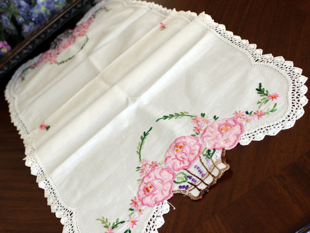 Embroidered Table Runner, Applique Linen Table Scarf, Crochet Lace Edging  13443   The Vintage