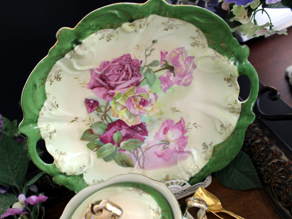 Antique Biscuit Jar, 2 Plates and Matching Platter, Cabbage Roses, Vintage Porcelain 13450 - The Vintage Teacup - 6