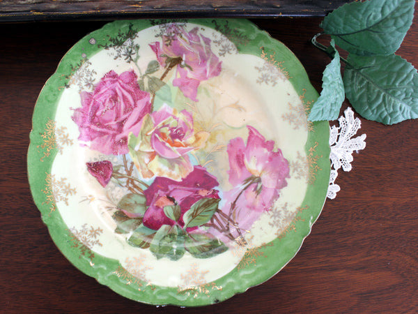 Antique Biscuit Jar, 2 Plates and Matching Platter, Cabbage Roses, Vintage Porcelain 13450 - The Vintage Teacup - 7