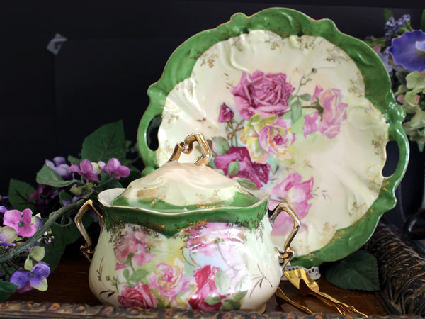 Antique Biscuit Jar, 2 Plates and Matching Platter, Cabbage Roses, Vintage Porcelain 13450 - The Vintage Teacup - 1