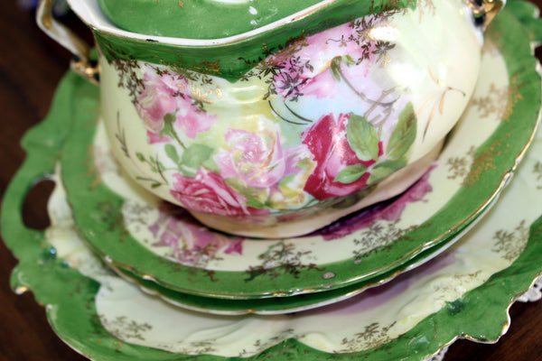 Antique Biscuit Jar, 2 Plates and Matching Platter, Cabbage Roses, Vintage Porcelain 13450 - The Vintage Teacup - 9