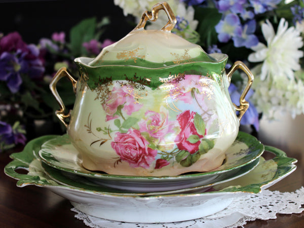 Antique Biscuit Jar, 2 Plates and Matching Platter, Cabbage Roses, Vintage Porcelain 13450 - The Vintage Teacup - 10