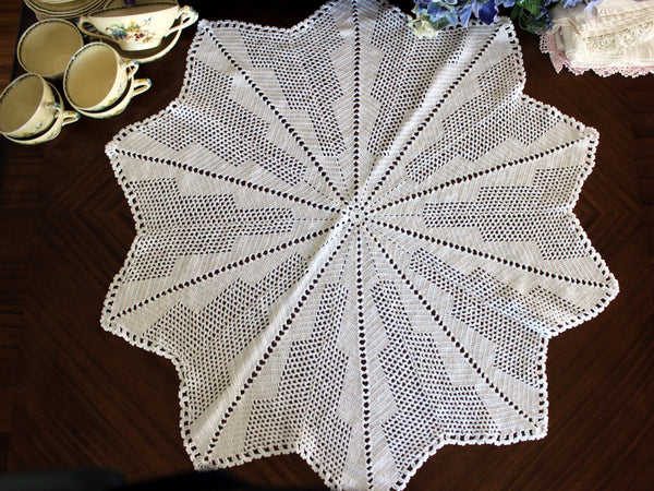 Large Crochet Topper, Large Crocheted Centerpiece, White Table Cover 13523 - The Vintage Teacup - 2