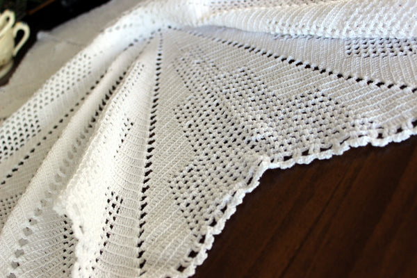 Large Crochet Topper, Large Crocheted Centerpiece, White Table Cover 13523 - The Vintage Teacup - 3