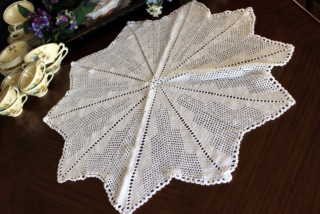 Large Crochet Topper, Large Crocheted Centerpiece, White Table Cover 13523 - The Vintage Teacup - 1