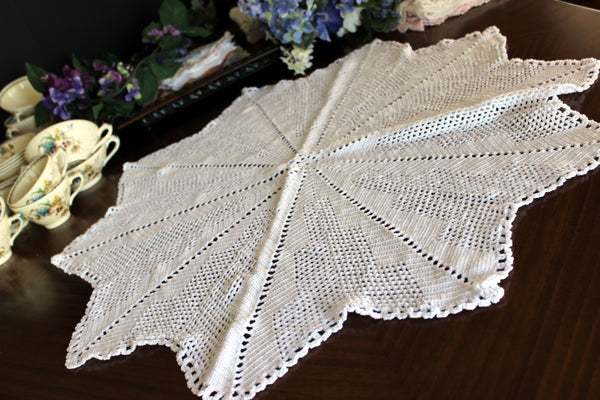 Large Crochet Topper, Large Crocheted Centerpiece, White Table Cover 13523 - The Vintage Teacup - 5