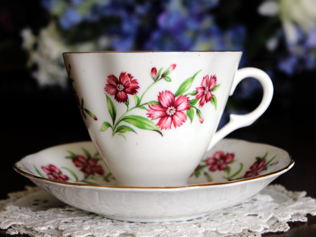 Clare Footed Teacup, Tea Cup and Saucer, English Bone China 13562