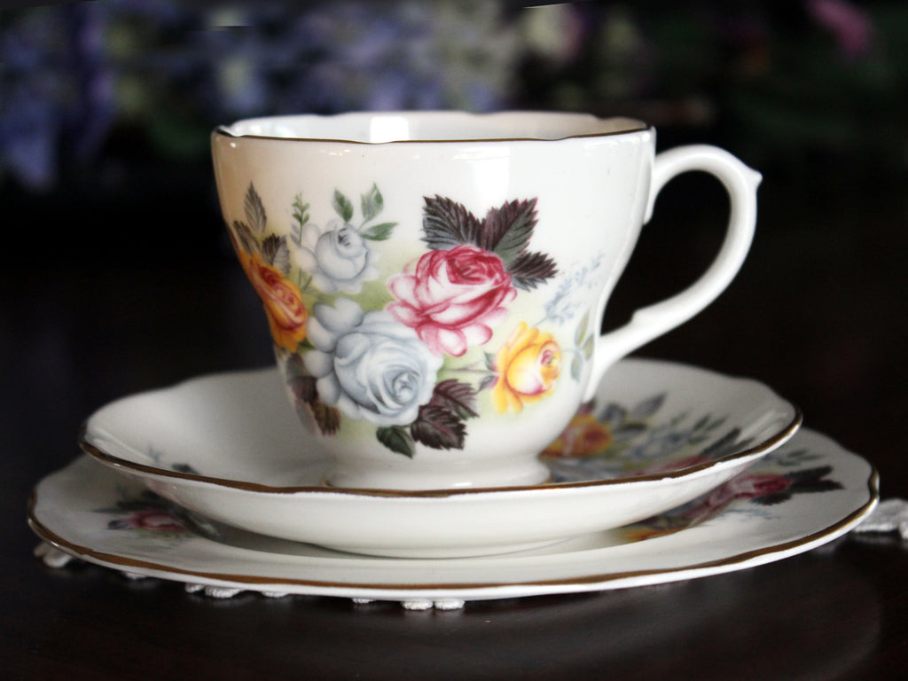 Trio Teacup, Tea Cup, Saucer and Side Plate, Dessert Set Duchess, English Bone China 13577