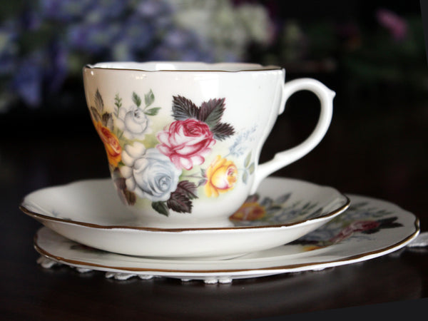 Trio Teacup, Tea Cup, Saucer and Side Plate, Dessert Set Duchess, English Bone China 13577 - The Vintage Teacup