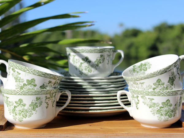 Vienna New Wharf Pottery, Dessert Set Pieces, Teacups, Saucers, Side Plates, 13653 - The Vintage Teacup - 1