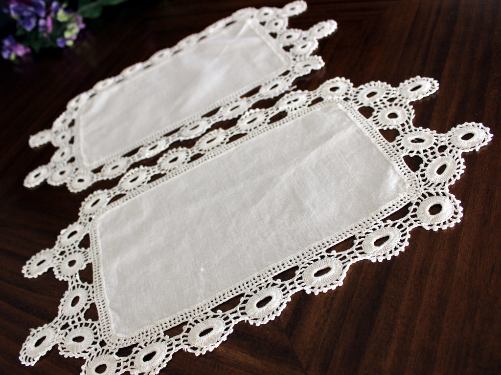2 Crocheted Table Linens, Crochet Edged Doilies, Antique White 13728 - The Vintage Teacup